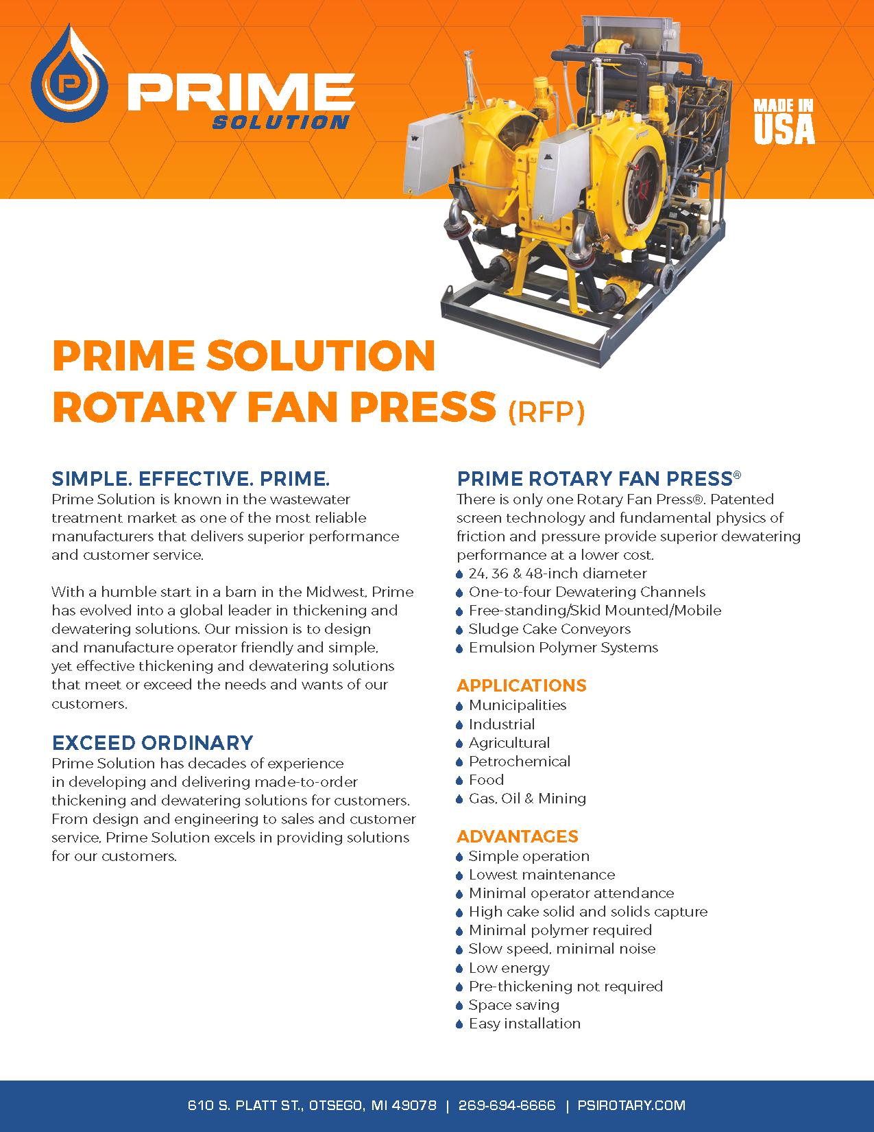 Rotary Fan Press Sell Sheet